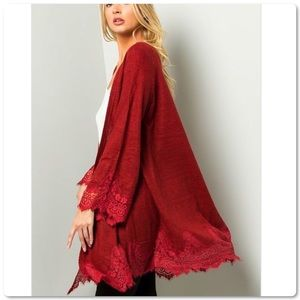 Fabulous Red Lace Trim Open Cardigan Sweater